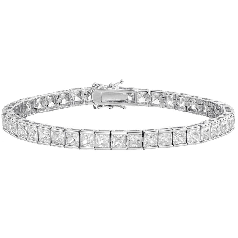 Princess Cut Crystal Tennis Bracelet Bracelets Silver - DailySale