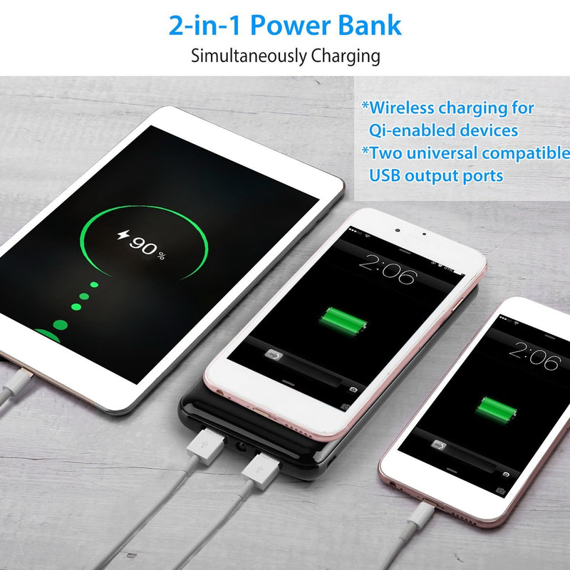 Qi Wireless Charging Station 10000mAh Power Bank Mobile Accessories - DailySale