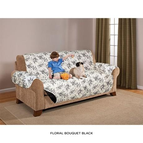 Quilted Water-Absorbent Reversible Furniture Protector - Assorted Styles Home Essentials Sofa Floral Bouquet Black - DailySale