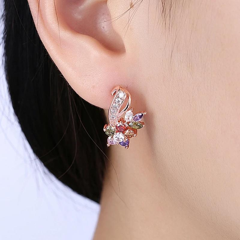 Rainbow Mona Lisa Stud Earring in 18K Rose Gold Plated Jewelry - DailySale
