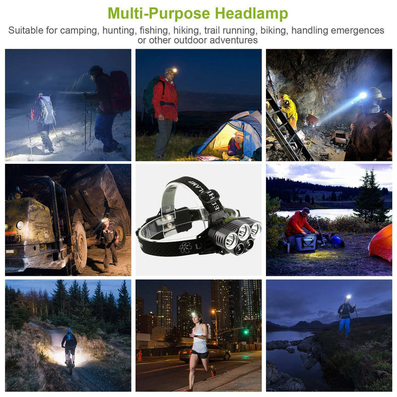 Rechargeable 6 Modes Headlamp 20000 Lumen Sports & Outdoors - DailySale