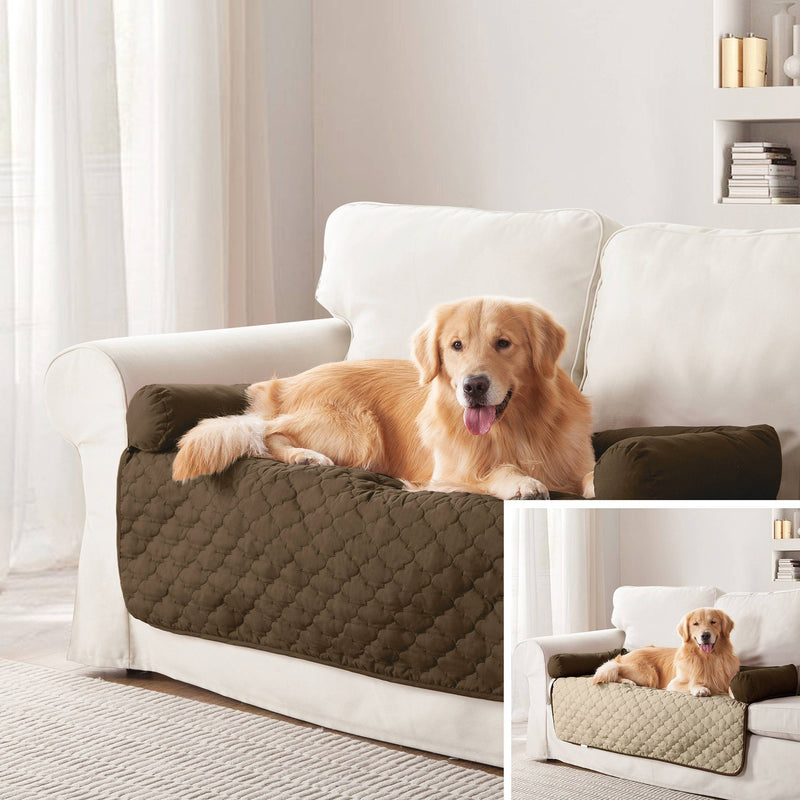 "Reversible Pet Bed & Furniture Protector with Cushion Anchors Bedding 21x34"" Chocolate/Natural - DailySale"