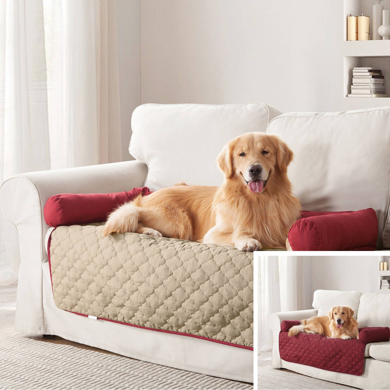 "Reversible Pet Bed & Furniture Protector with Cushion Anchors Bedding 21x34"" Garnet/Natural - DailySale"