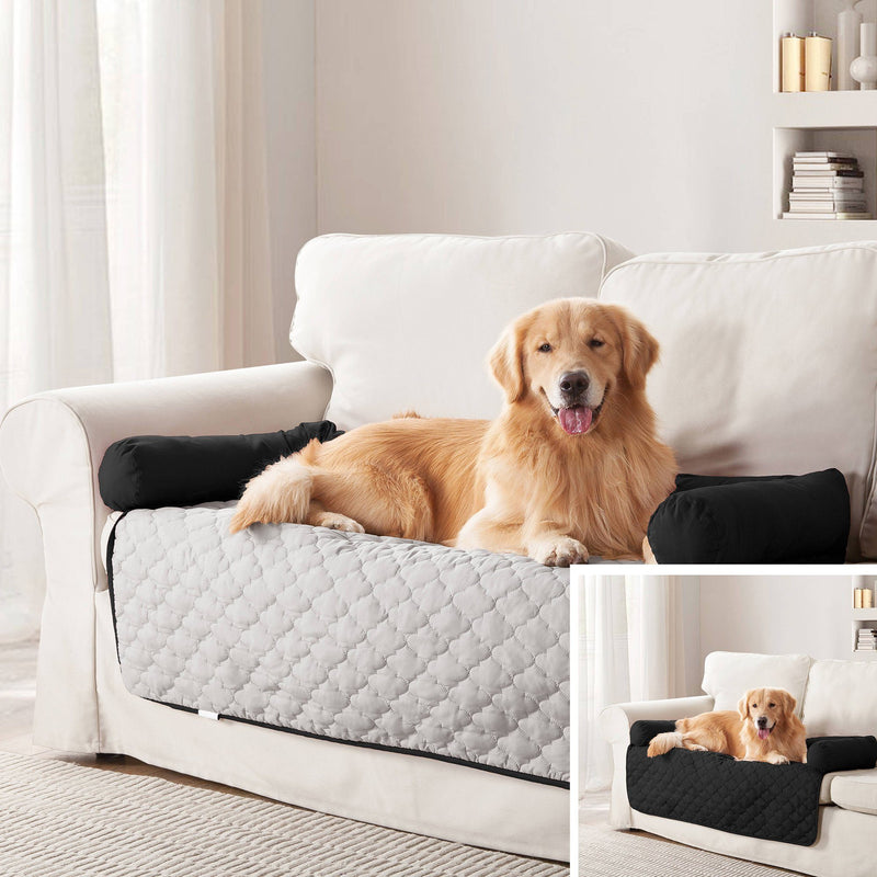 "Reversible Pet Bed & Furniture Protector with Cushion Anchors Bedding 21x34"" Silver/Black - DailySale"