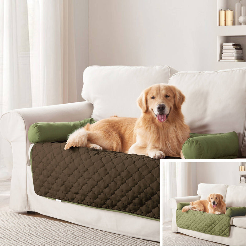 "Reversible Pet Bed & Furniture Protector with Cushion Anchors Bedding 45x34"" Sage/Chocolate - DailySale"