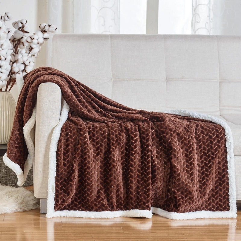 Reversible Soft Braided Sherpa Throw Blanket Linen & Bedding Chocolate - DailySale
