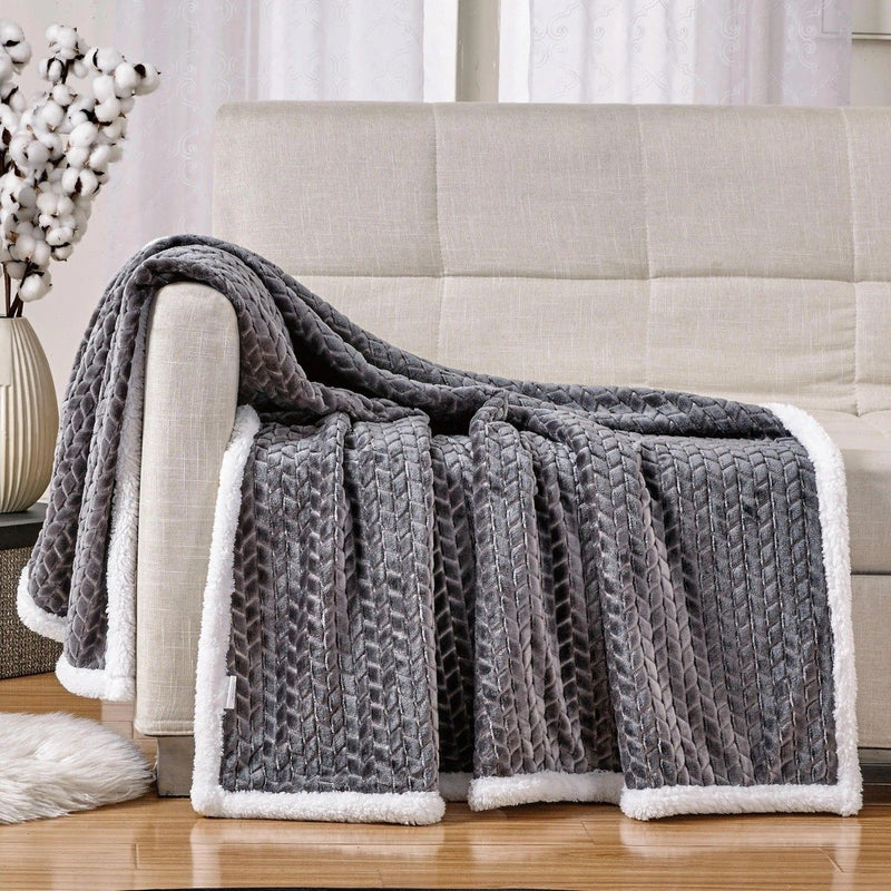 Reversible Soft Braided Sherpa Throw Blanket Linen & Bedding Gray - DailySale