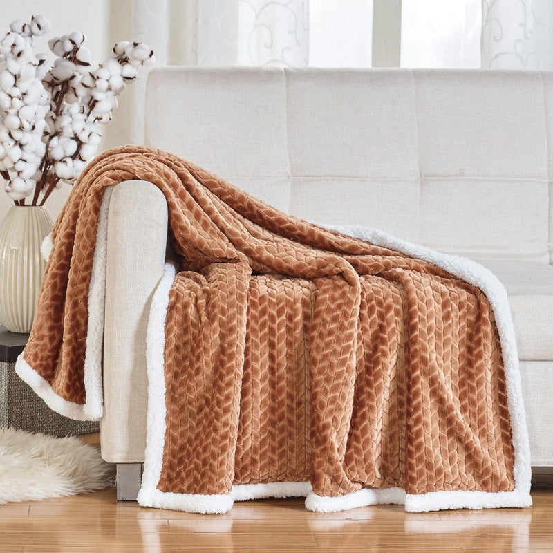 Reversible Soft Braided Sherpa Throw Blanket Linen & Bedding Mocha - DailySale