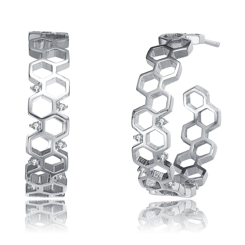 Rhodium Plated Geometric Hoop Earrings Earrings - DailySale
