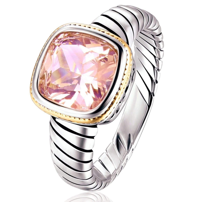 Rhodium Plated Lab Created Morganite Engagement Ring - Assorted Sizes Jewelry - DailySale
