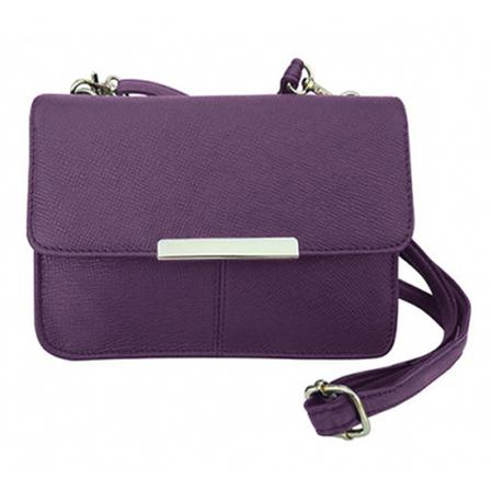 Roma Leather Crossbody Purse with Adjustable Strap Bags & Travel Purple - DailySale