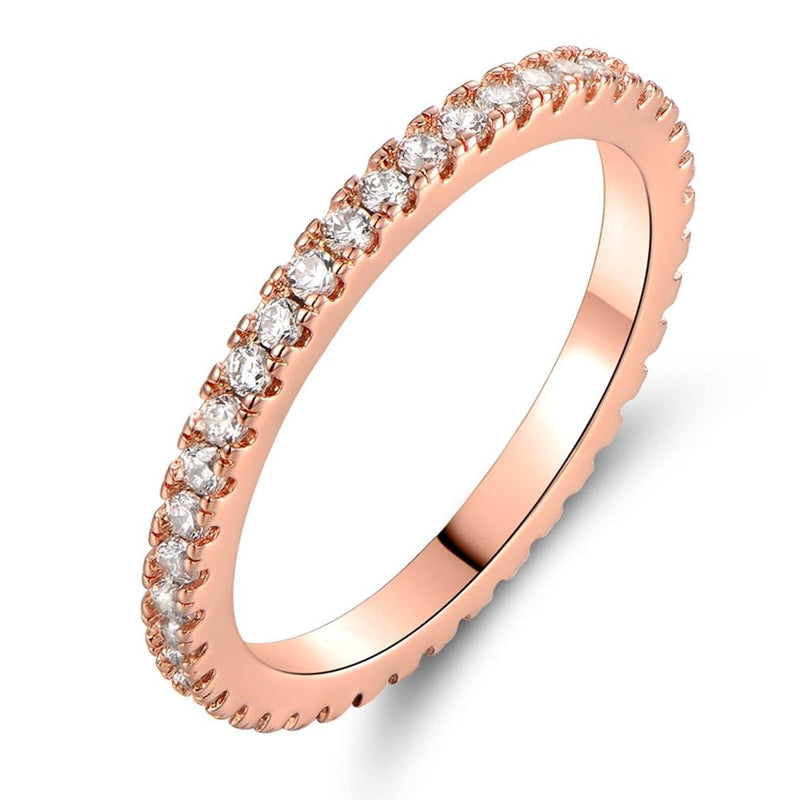 Rose Gold and Round-Cut CZ Single Row Eternity Ring Jewelry 8 - DailySale