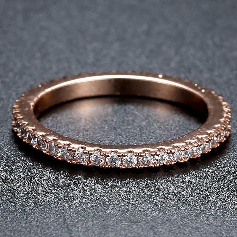 Rose Gold and Round-Cut CZ Single Row Eternity Ring Jewelry - DailySale