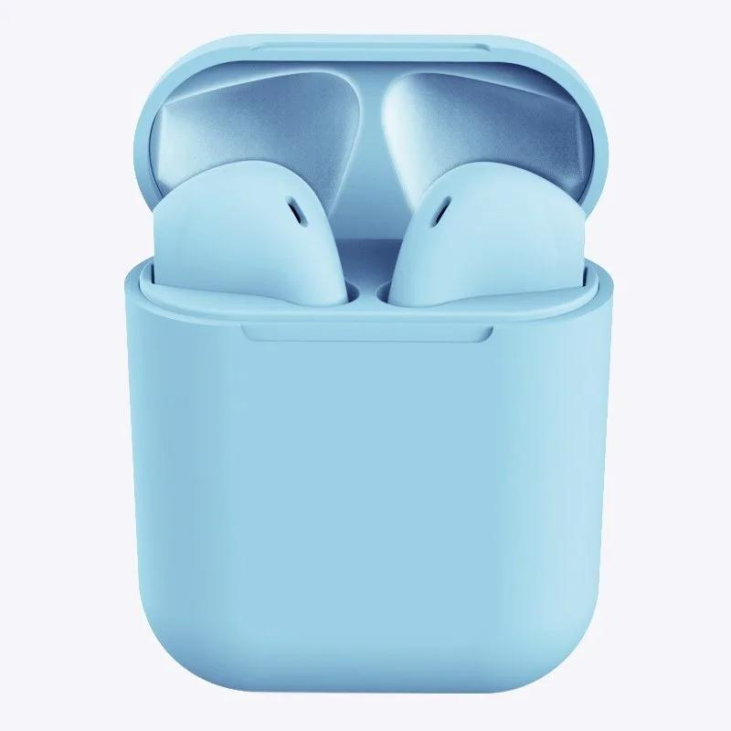 Rubber Matte Wireless Earbuds and Charging Case Headphones Blue - DailySale