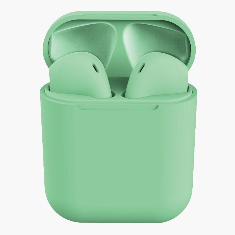 Rubber Matte Wireless Earbuds and Charging Case Headphones Green - DailySale