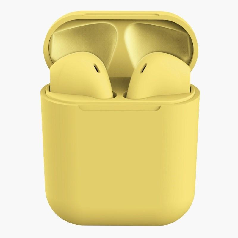 Rubber Matte Wireless Earbuds and Charging Case Headphones Yellow - DailySale