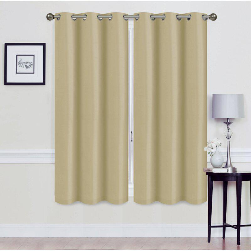 Set of 2: Foam-Backed Blackout Grommet Curtain Panel Lighting & Decor 76 X 63 Beige - DailySale