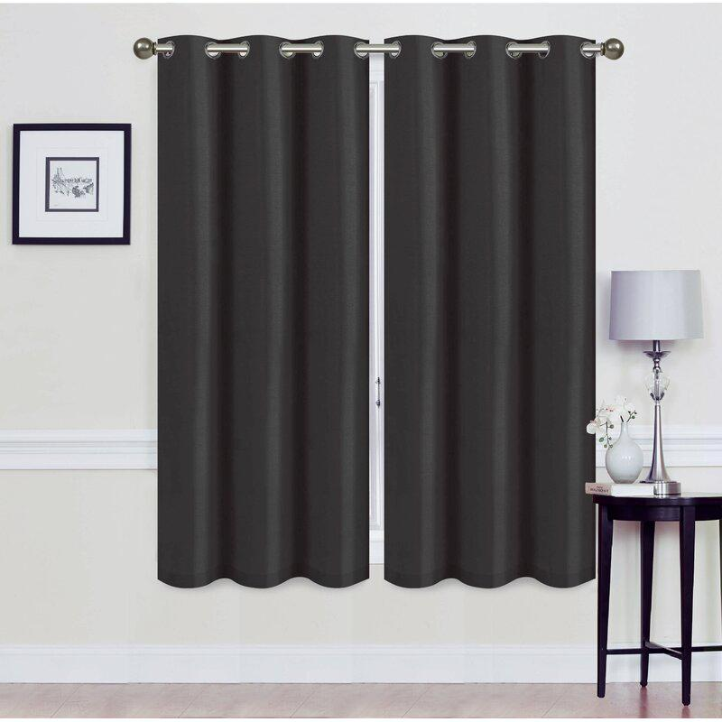 Set of 2: Foam-Backed Blackout Grommet Curtain Panel Lighting & Decor 76 X 63 Black - DailySale