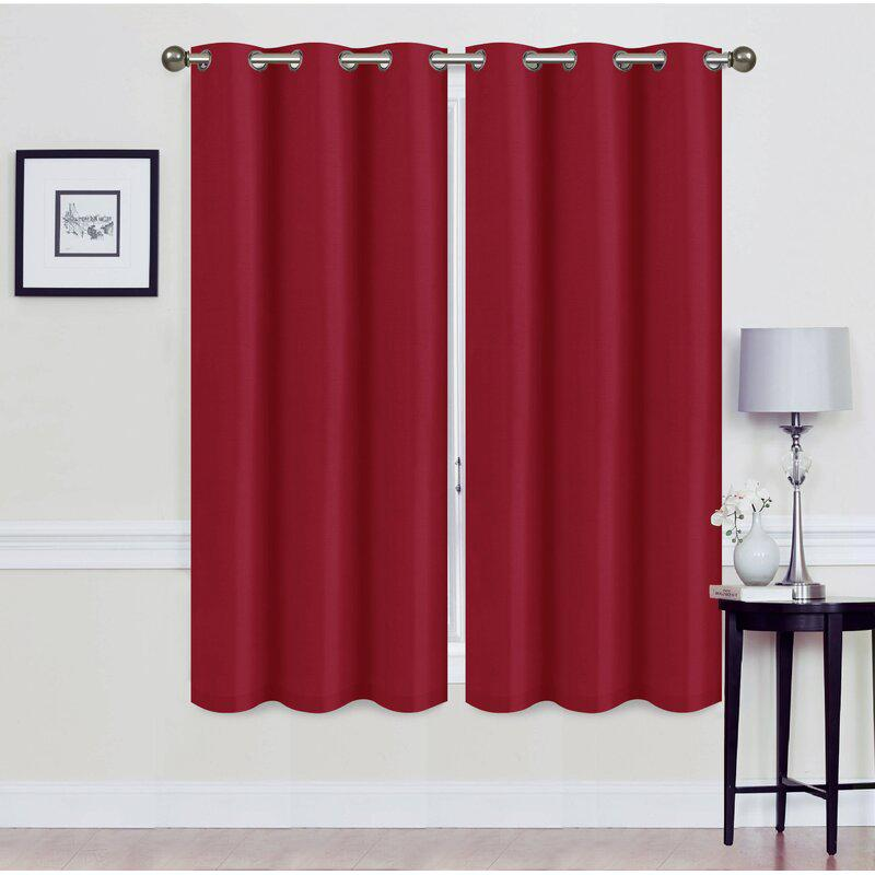 Set of 2: Foam-Backed Blackout Grommet Curtain Panel Lighting & Decor 76 X 63 Burgundy - DailySale