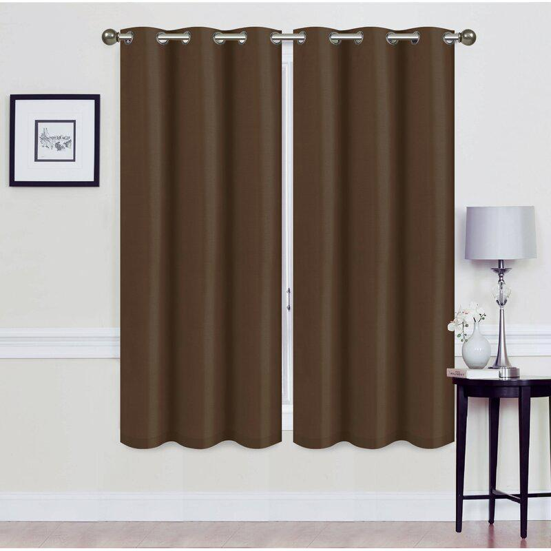 Set of 2: Foam-Backed Blackout Grommet Curtain Panel Lighting & Decor 76 X 63 Coffee - DailySale