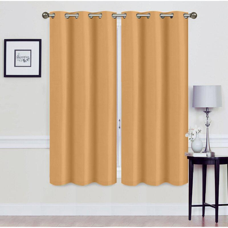 Set of 2: Foam-Backed Blackout Grommet Curtain Panel Lighting & Decor 76 X 63 Gold - DailySale