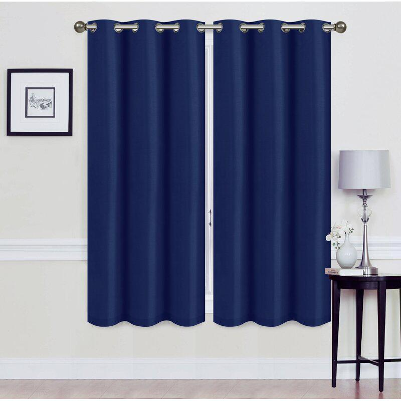 Set of 2: Foam-Backed Blackout Grommet Curtain Panel Lighting & Decor 76 X 63 Navy - DailySale