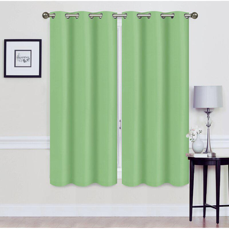 Set of 2: Foam-Backed Blackout Grommet Curtain Panel Lighting & Decor 76 X 63 Sage - DailySale