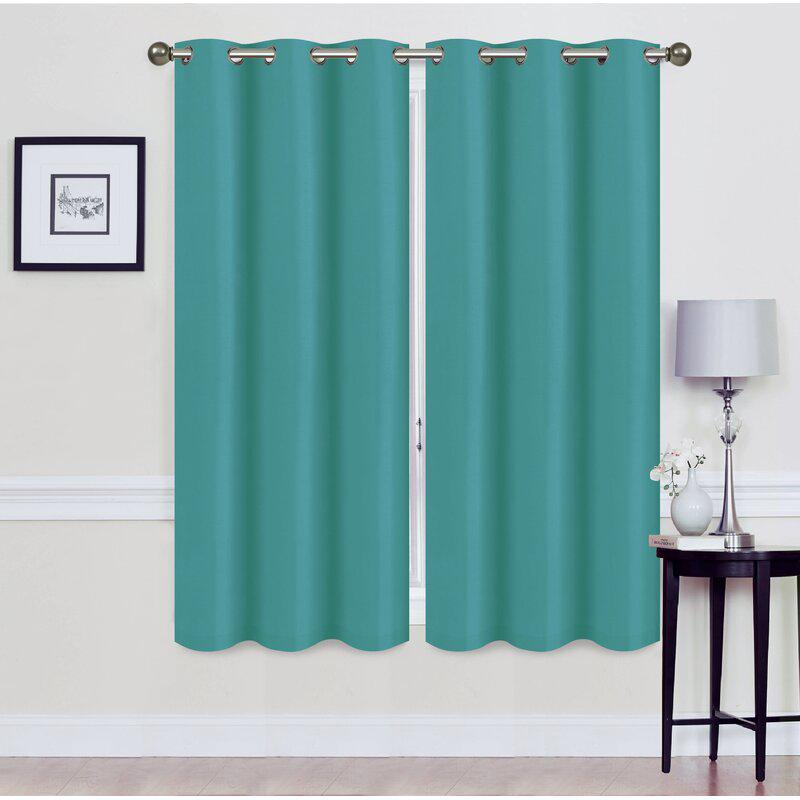 Set of 2: Foam-Backed Blackout Grommet Curtain Panel Lighting & Decor 76 X 63 Teal - DailySale