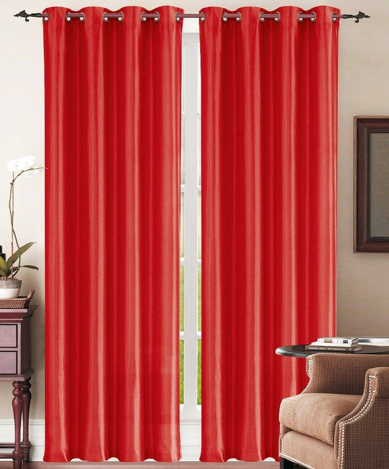 Set of 2: Grommet Curtain Panels - Assorted Colors Furniture & Decor Red - DailySale