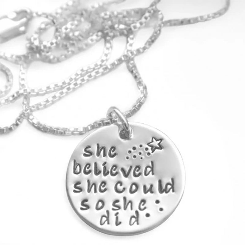 """She Believed She Could So She Did"" Inspirational Pendant Jewelry - DailySale"