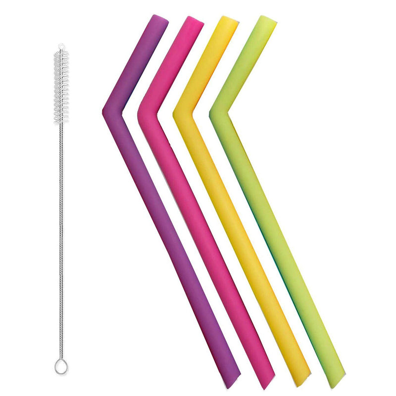 Silicone Reusable Straws Kitchen Essentials 5-Piece Bent - DailySale