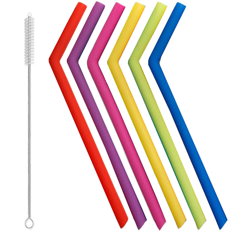 Silicone Reusable Straws Kitchen Essentials 7-Piece Bent - DailySale