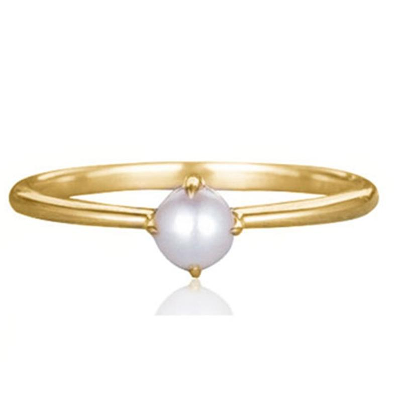 Simple Dainty Pearl Ring In 18Kt Gold Jewelry 6 - DailySale
