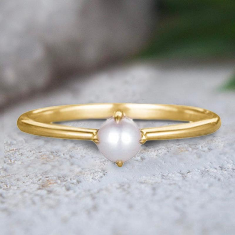 Simple Dainty Pearl Ring In 18Kt Gold Jewelry - DailySale