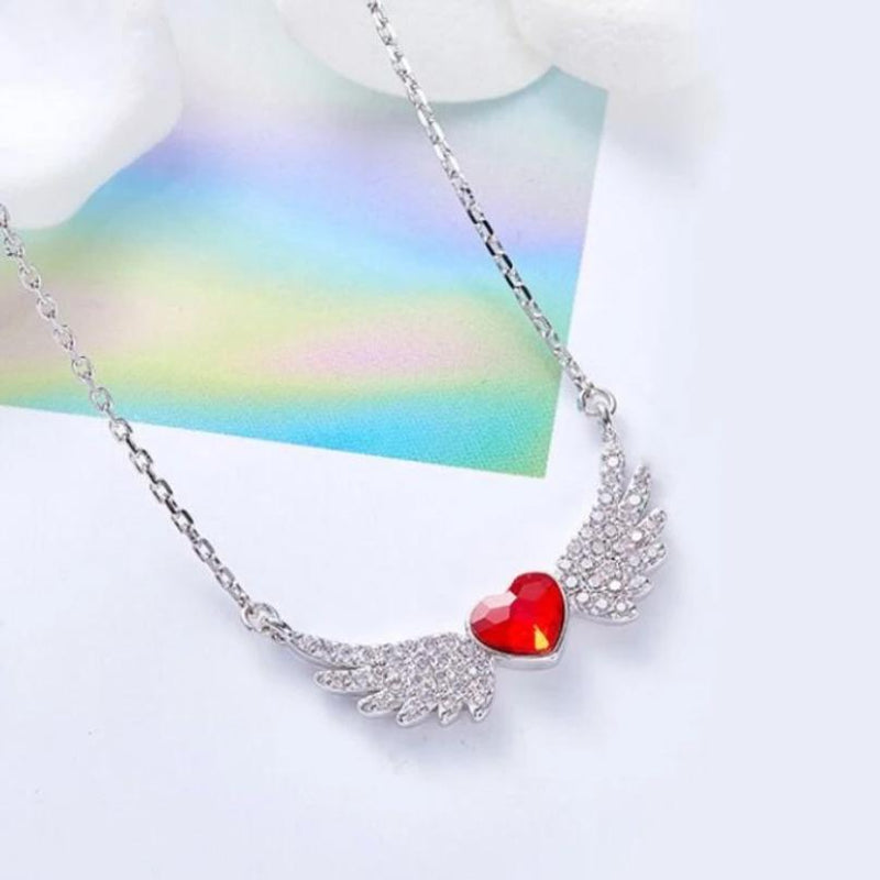 Simulated Ruby Heart Shaped Pav'e Angel Wings Pendant Necklace Jewelry - DailySale