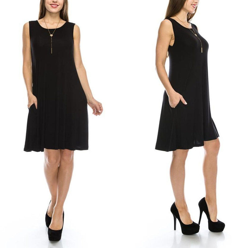Sleeveless Tunic Dress with Pockets - Assorted Colors & Sizes Women's Apparel S Black - DailySale