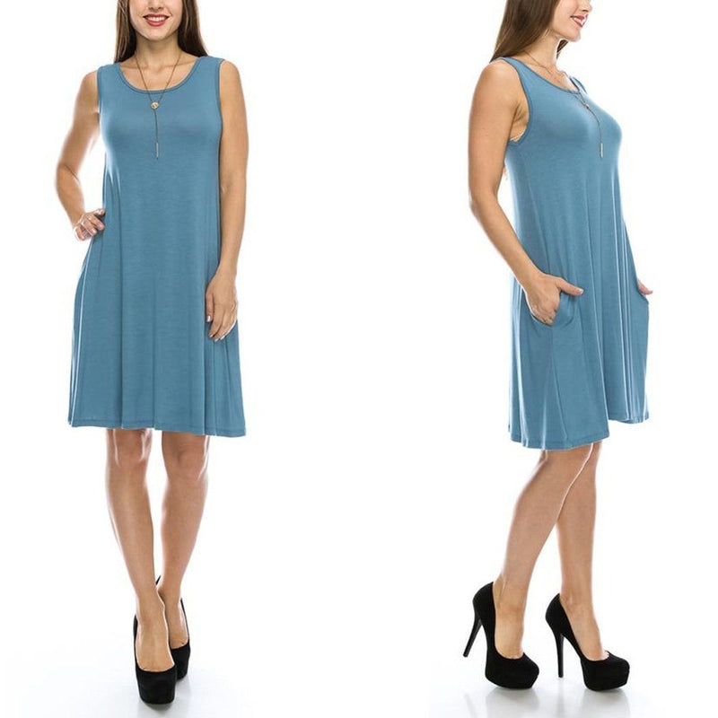 Sleeveless Tunic Dress with Pockets - Assorted Colors & Sizes Women's Apparel S Denim Blue - DailySale