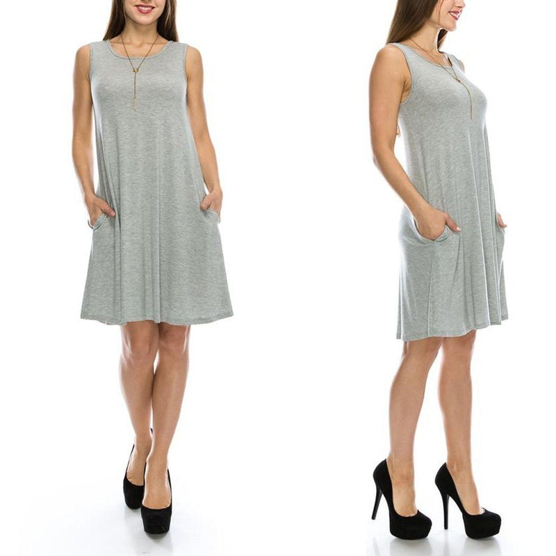 Sleeveless Tunic Dress with Pockets - Assorted Colors & Sizes Women's Apparel S Heather Gray - DailySale