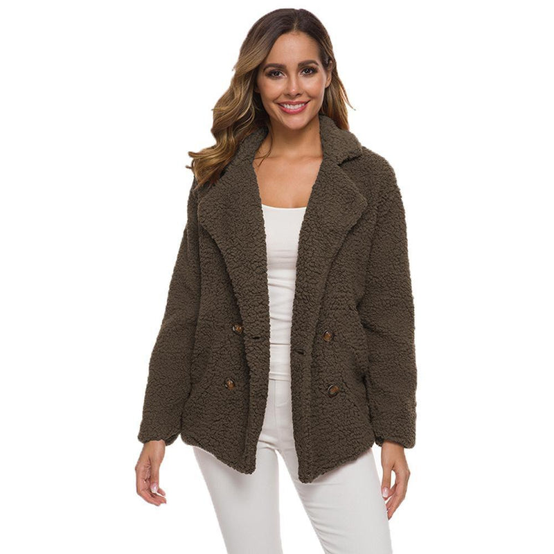 Soft Comfy Plush Pea Coat - Assorted Colors Women's Apparel S Coffee - DailySale