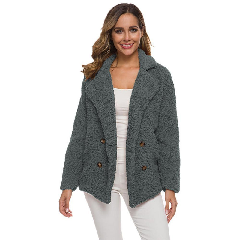Soft Comfy Plush Pea Coat - Assorted Colors Women's Apparel S Dark Gray - DailySale