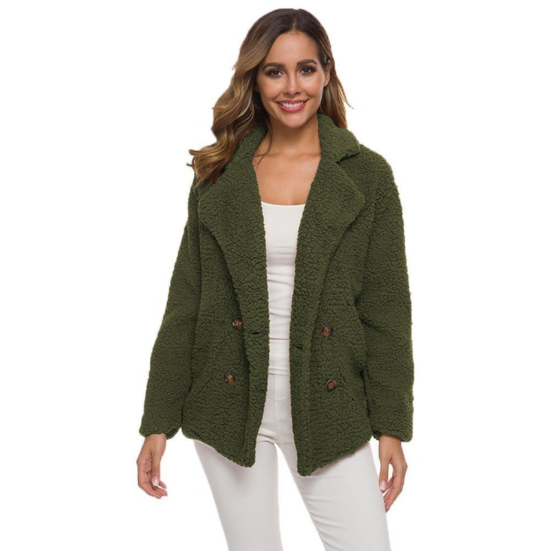 Soft Comfy Plush Pea Coat - Assorted Colors Women's Apparel S Forest Green - DailySale