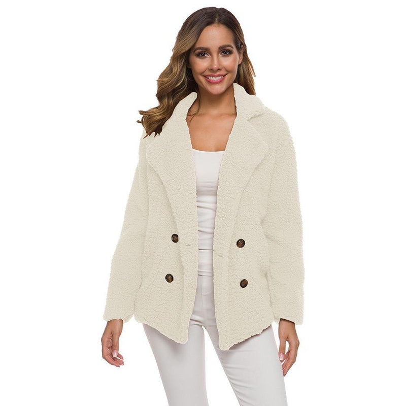 Soft Comfy Plush Pea Coat - Assorted Colors Women's Apparel S Ivory - DailySale
