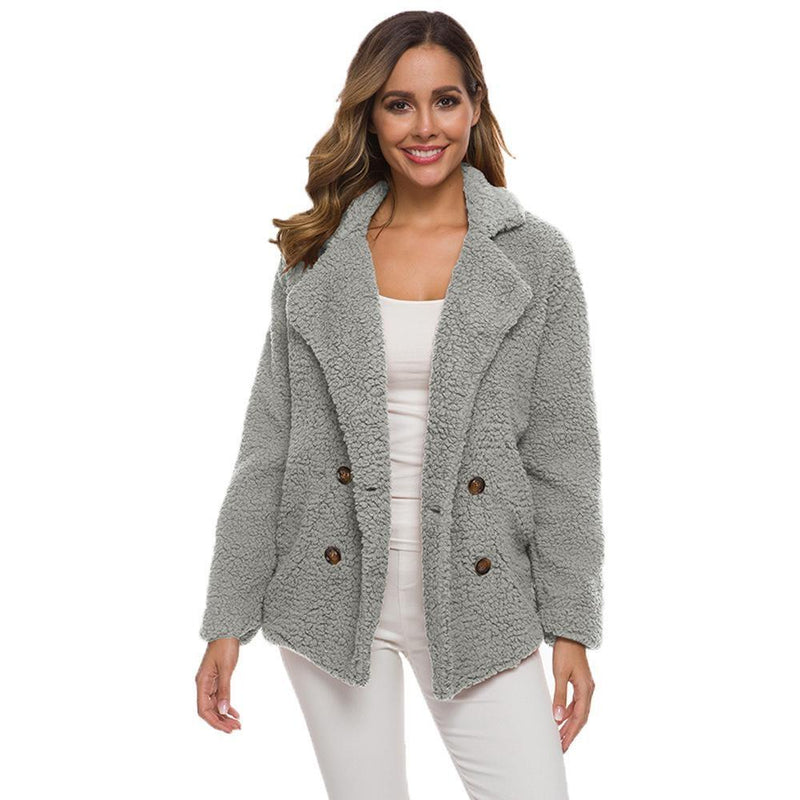 Soft Comfy Plush Pea Coat - Assorted Colors Women's Apparel S Light Gray - DailySale