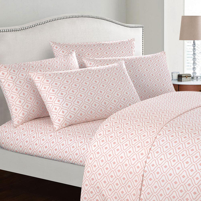 Soft Two-Tone Diamond Print Deep Pocket Sheet Sets Bed & Bath Twin Coral - DailySale
