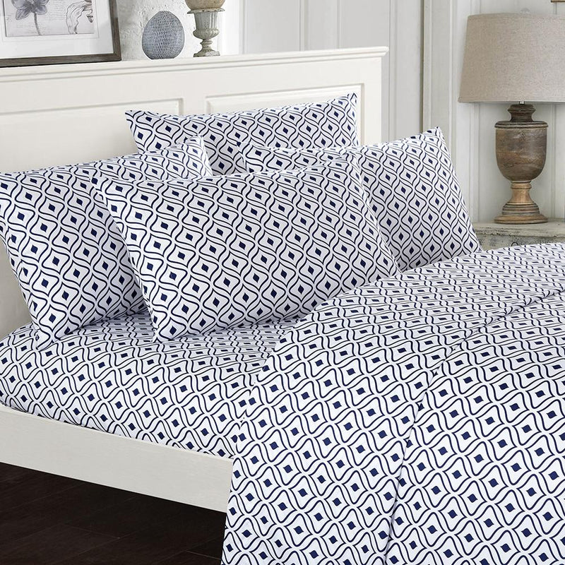 Soft Two-Tone Diamond Print Deep Pocket Sheet Sets Bed & Bath Twin Navy - DailySale