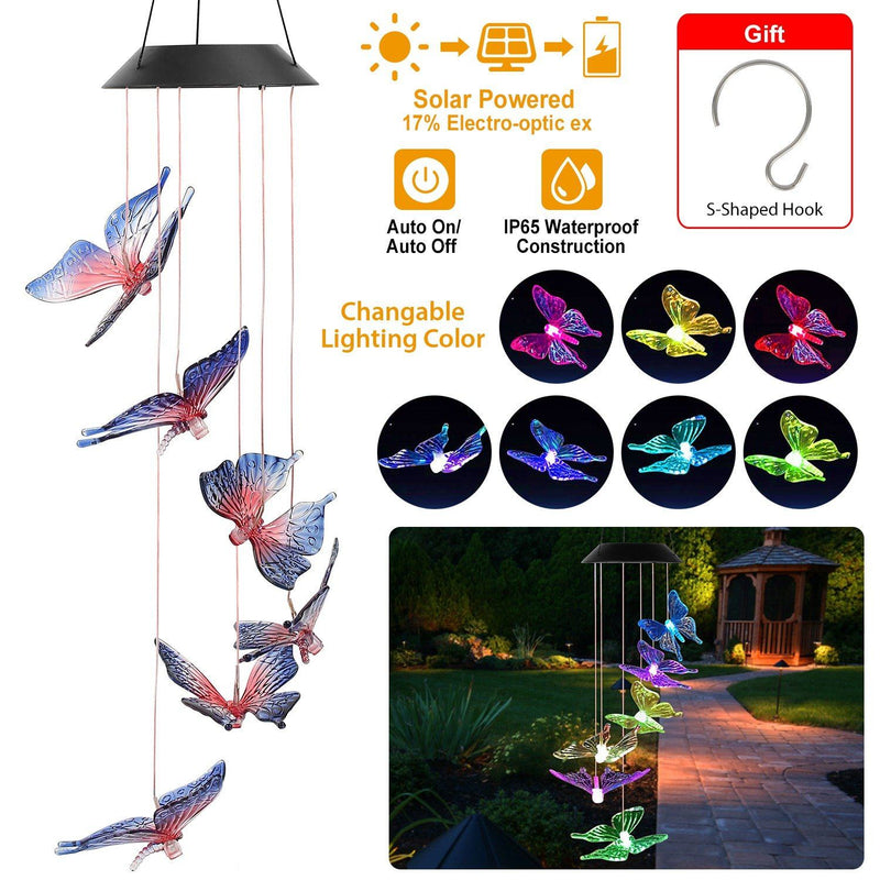 Solar LED Butterfly Wind Chimes Garden & Patio - DailySale