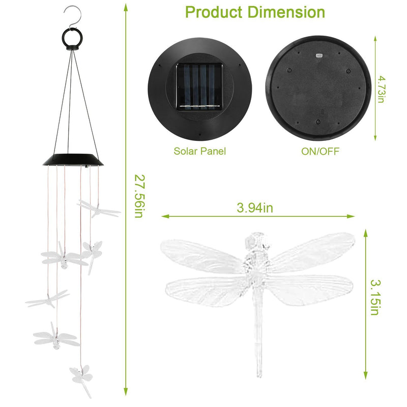 Solar Powered Dragonfly Lights Wind Chimes Garden & Patio - DailySale