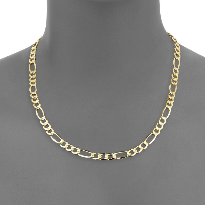 Solid 10K Gold Diamond Cut Italian Crafted Figaro Chain - Assorted Sizes Jewelry - DailySale