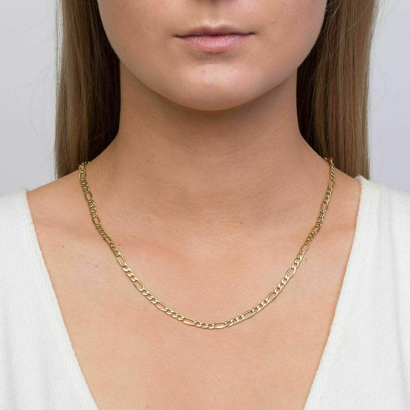 Solid 10K Gold Diamond Cut Italian Crafted Figaro Chain - Assorted Sizes Necklaces - DailySale