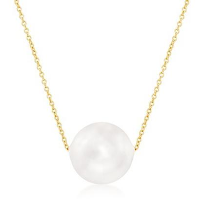 Solid 10K Gold Pearl Necklace Necklaces - DailySale